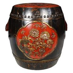 Chinese Drum Form Stool with Blessings