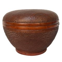 Chinese Open Weave Covered Basket