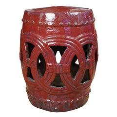 Chinese Cinnabar Glazed Garden Stool