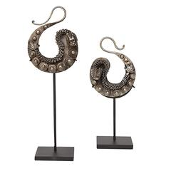 Pair of Mounted Chinese Miao Dragon Earrings