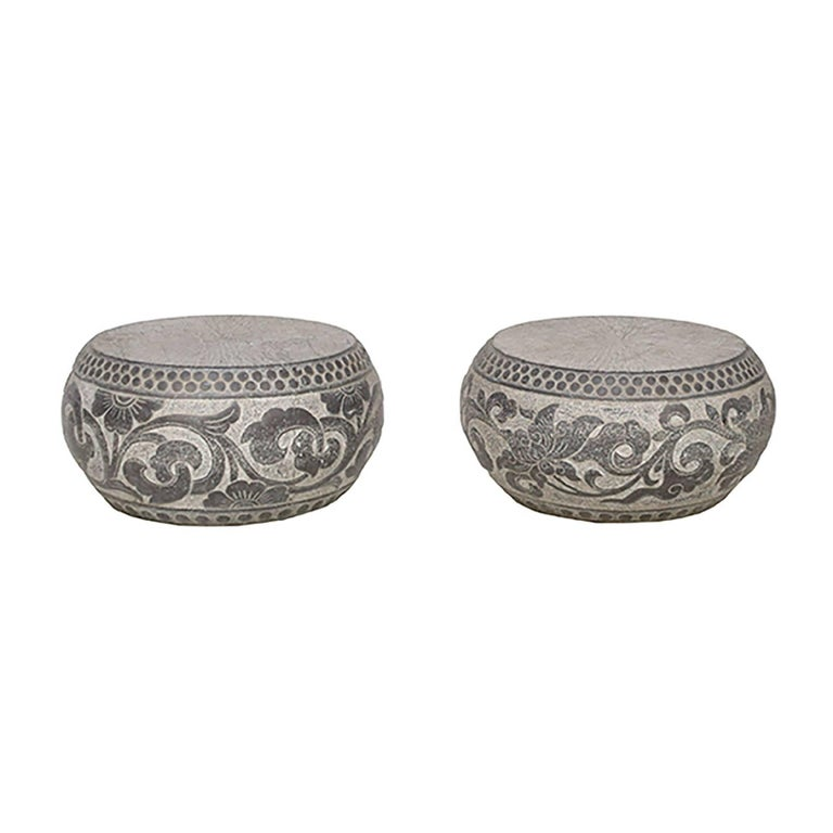 Pair of Chinese Floral Carved Stone Pedestals