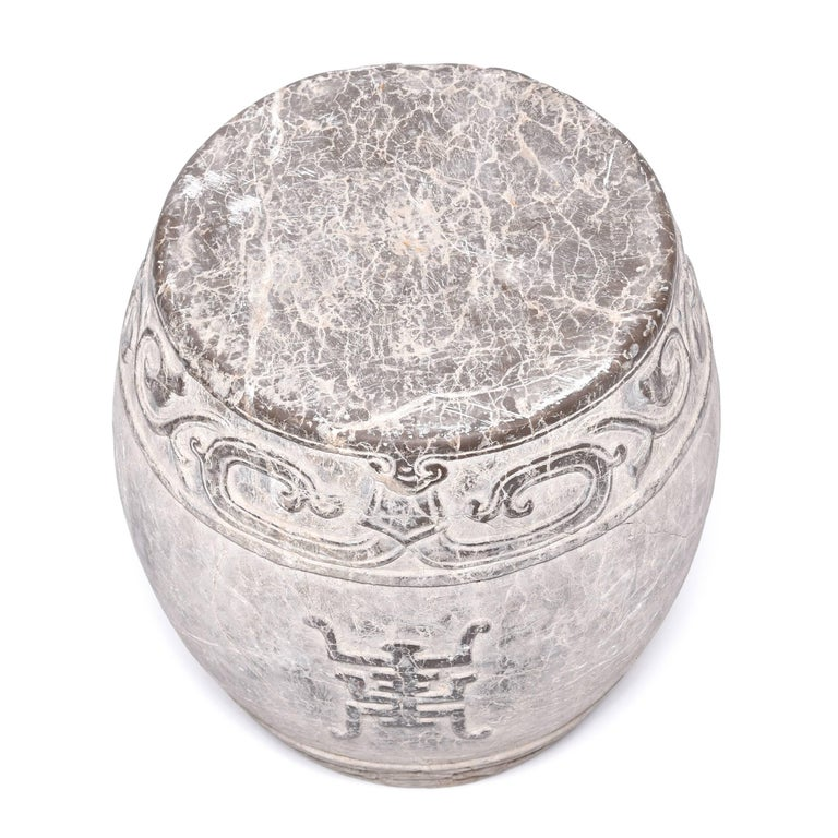 Contemporary Chinese Trailing Vine Stone Drum For Sale
