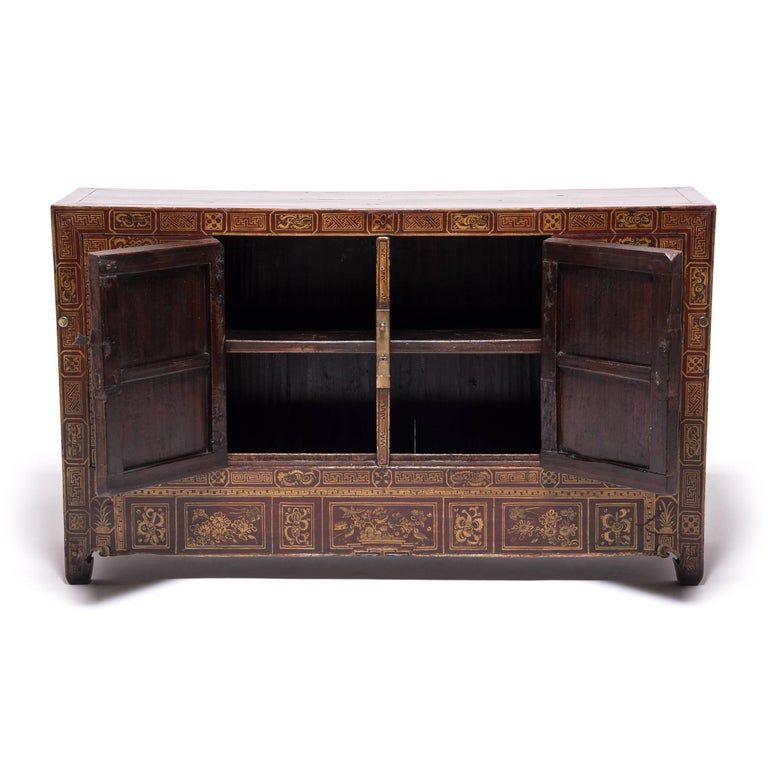 Hand-Painted Chinese Square Corner Chest For Sale