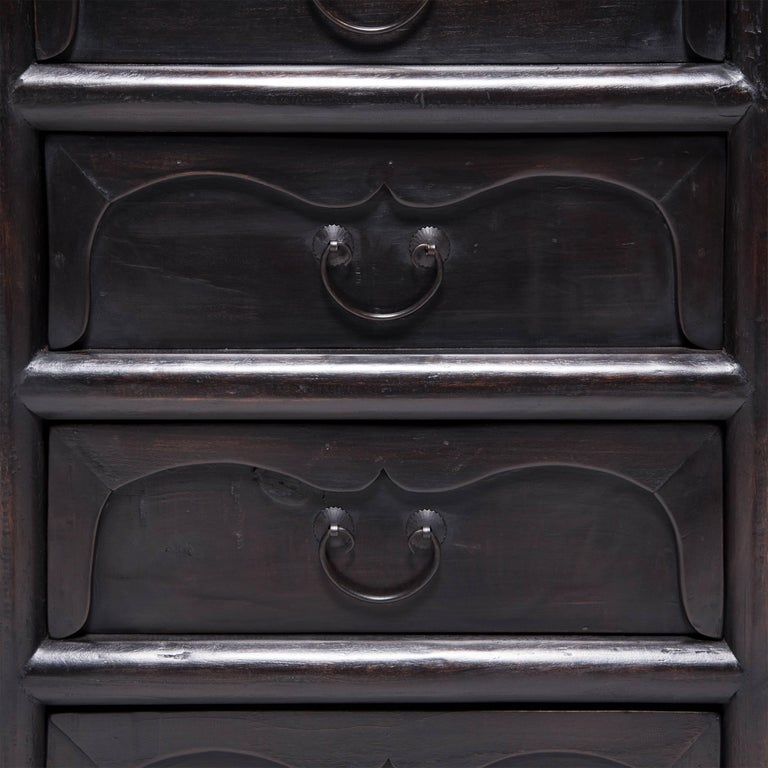 Brass Chinese Twelve-Drawer Chest For Sale