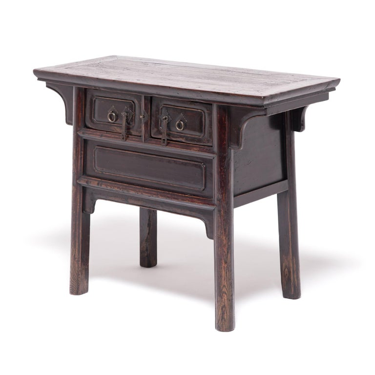 Qing Chinese Tapered Two-Drawer Chest For Sale