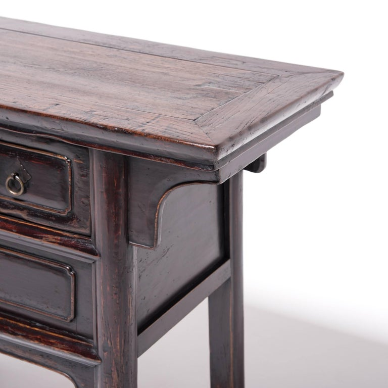 19th Century Chinese Tapered Two-Drawer Chest For Sale