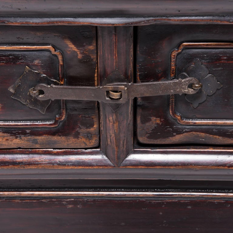 Brass Chinese Tapered Two-Drawer Chest For Sale