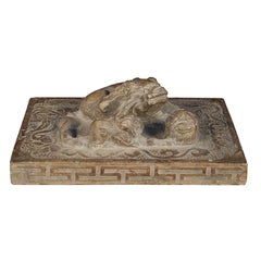 Chinese Stone Shoemaker's Weight with Mother, Cub, and Pearl