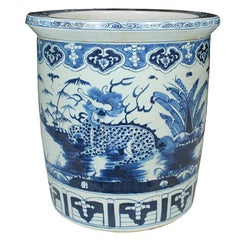 Chinese Blue and White Scroll Jar with Qilin