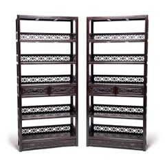 Pair of Chinese Fine Scholar's Scroll Shelves