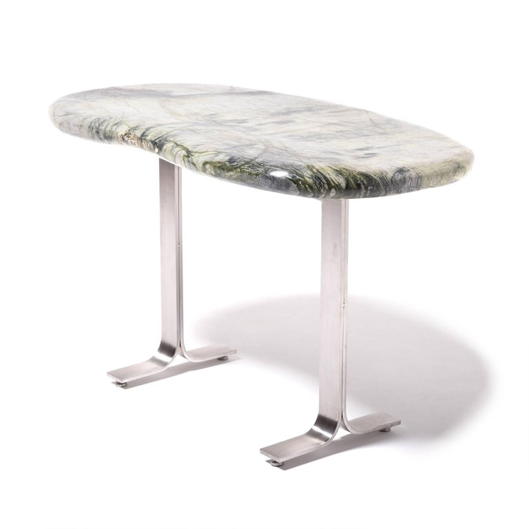 Polished Chinese Meditation Stone Top Desk For Sale