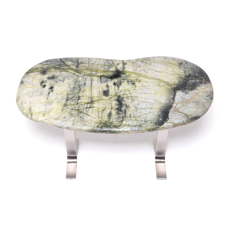 Steel Chinese Meditation Stone Top Desk For Sale