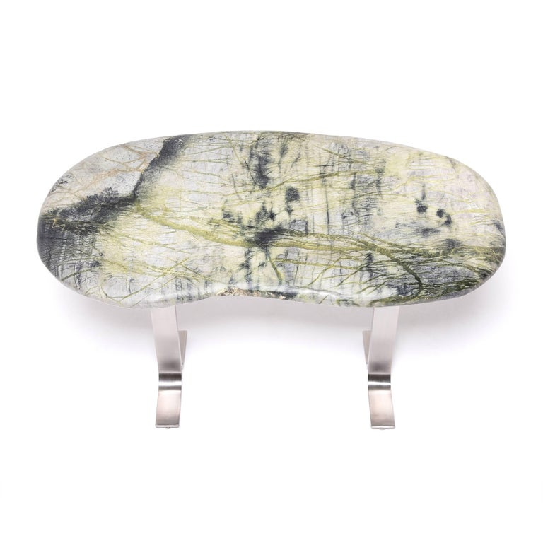 Contemporary Chinese Meditation Stone Top Desk For Sale