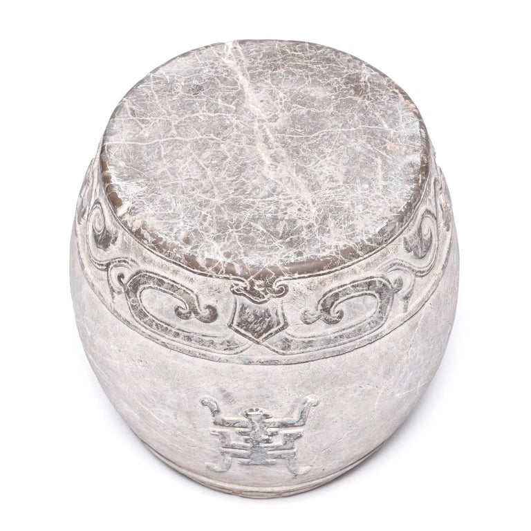 Chinese Trailing Vine Stone Drum Stool In Good Condition For Sale In Chicago, IL