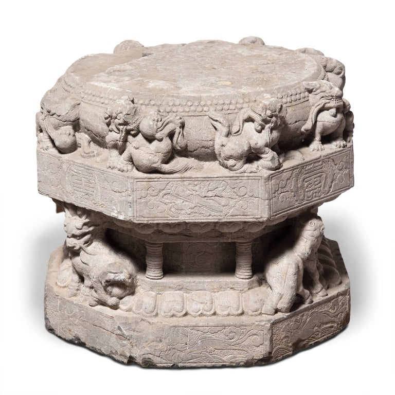 Carved Stone Base : Pair of highly carved chinese stone column bases for sale