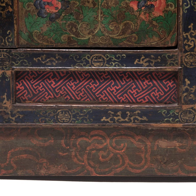Tibetan Painted Lotus Cabinet For Sale 2