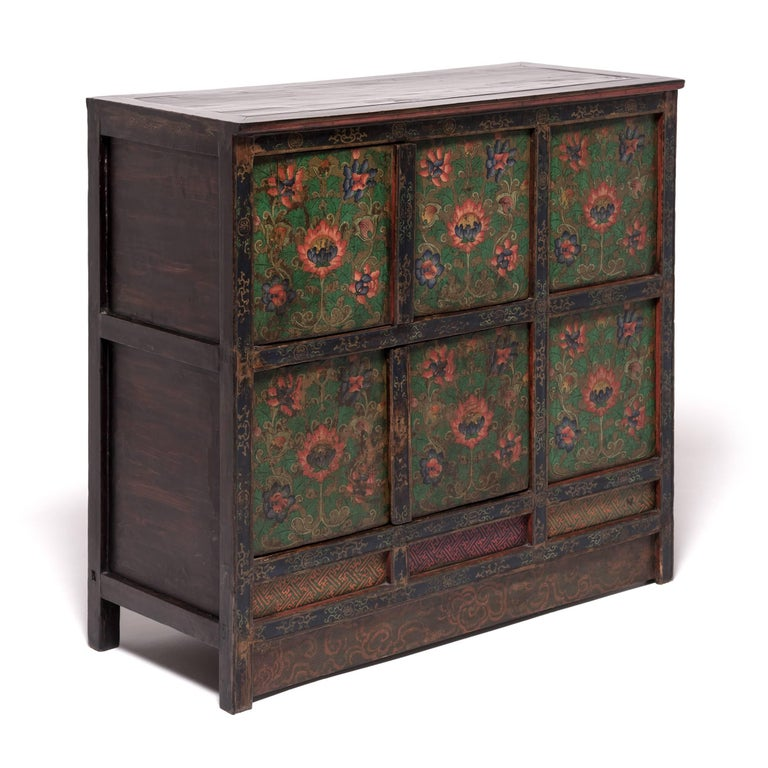 Tibetan Painted Lotus Cabinet In Good Condition For Sale In Chicago, IL