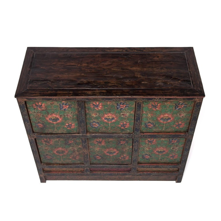 Hand-Painted Tibetan Painted Lotus Cabinet For Sale
