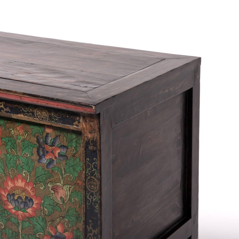 Elm Tibetan Painted Lotus Cabinet For Sale