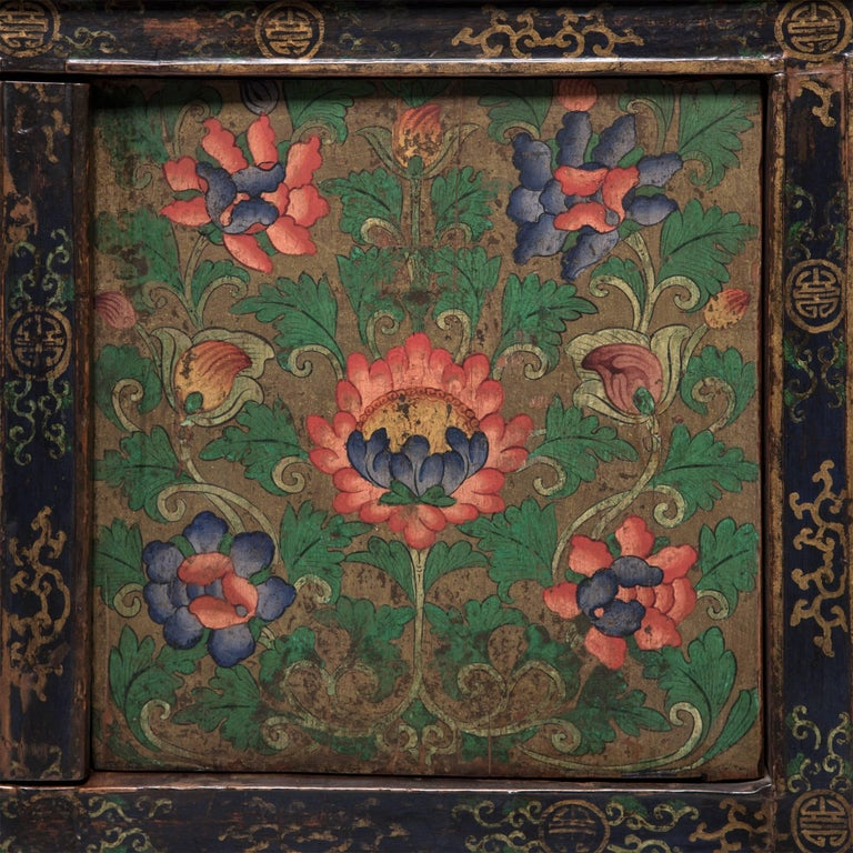 Tibetan Painted Lotus Cabinet For Sale 1