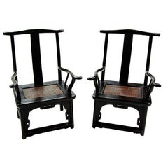 Pair of Chinese Tall Back Porch Chairs