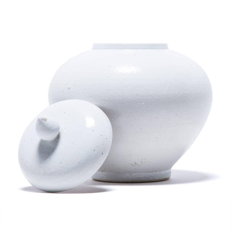 Contemporary Chinese Tapered Cloud Jar with Lid For Sale