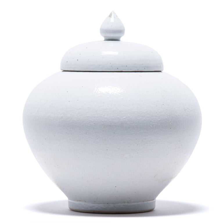Glazed Chinese Tapered Cloud Jar with Lid For Sale