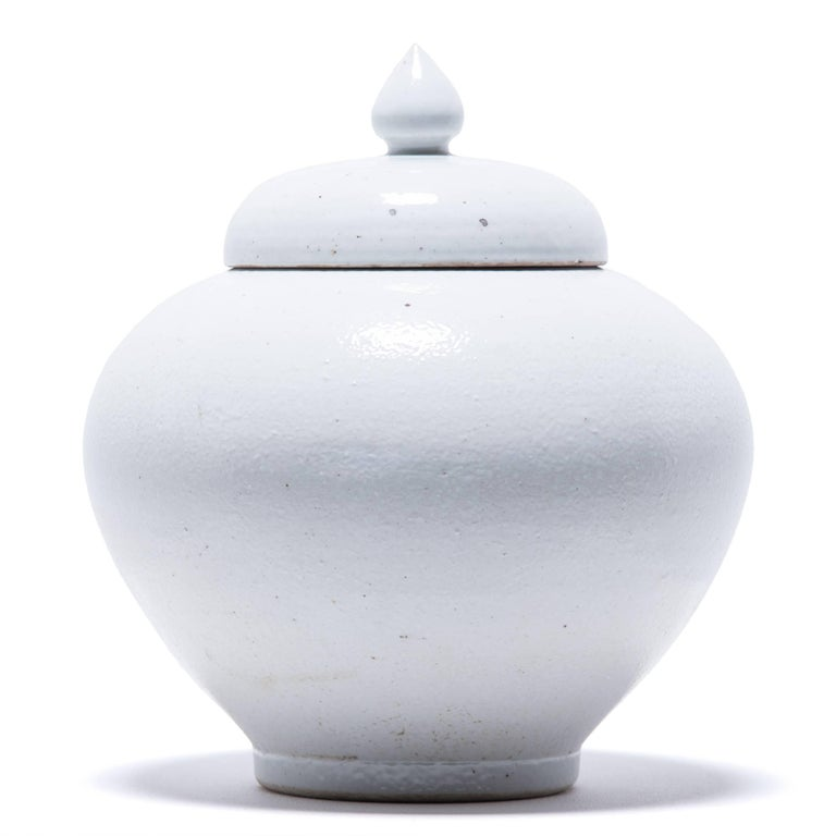 Chinese Tapered Cloud Jar with Lid In Excellent Condition For Sale In Chicago, IL