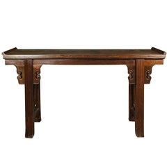 Chinese Altar Table with Everted Ends and Gently Curved Legs