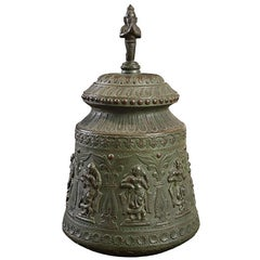 Indian Spiritual Bronze Vessel with Lid