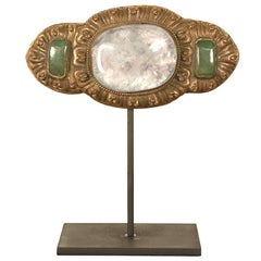Chinese Belt Buckle with Rock Crystal and Green Quartz