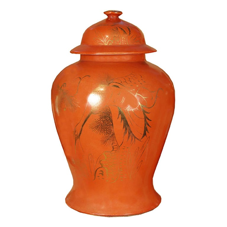 Chinese Persimmon with Gilt Crane Baluster Jar