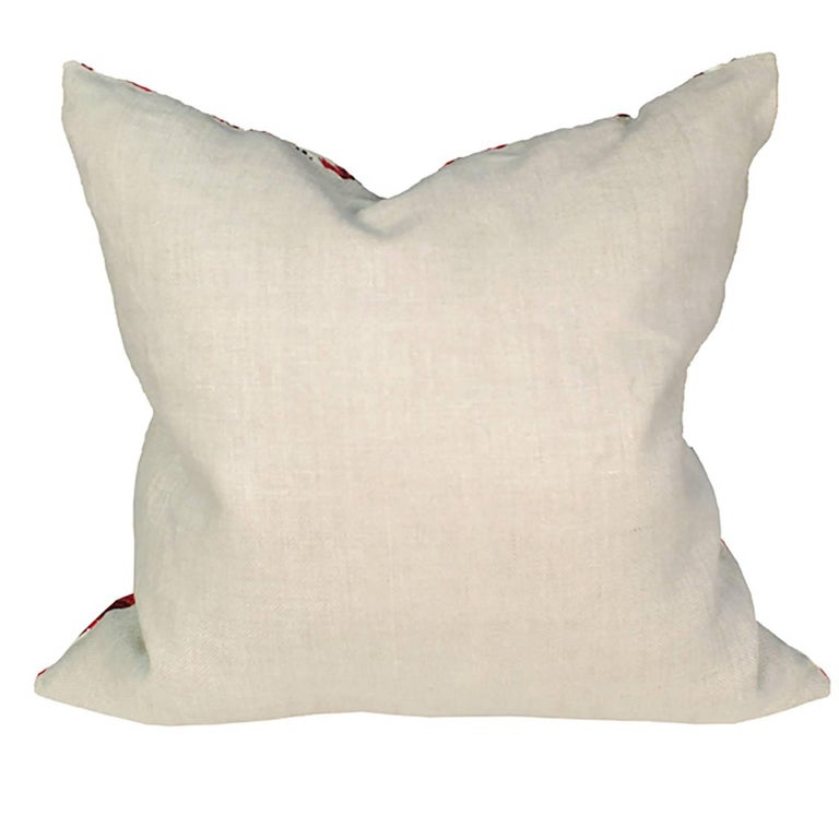 Contemporary Throw Pillow with Vintage Indian Embroidery For Sale