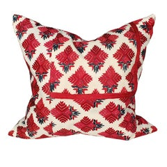 Throw Pillow with Vintage Indian Embroidery