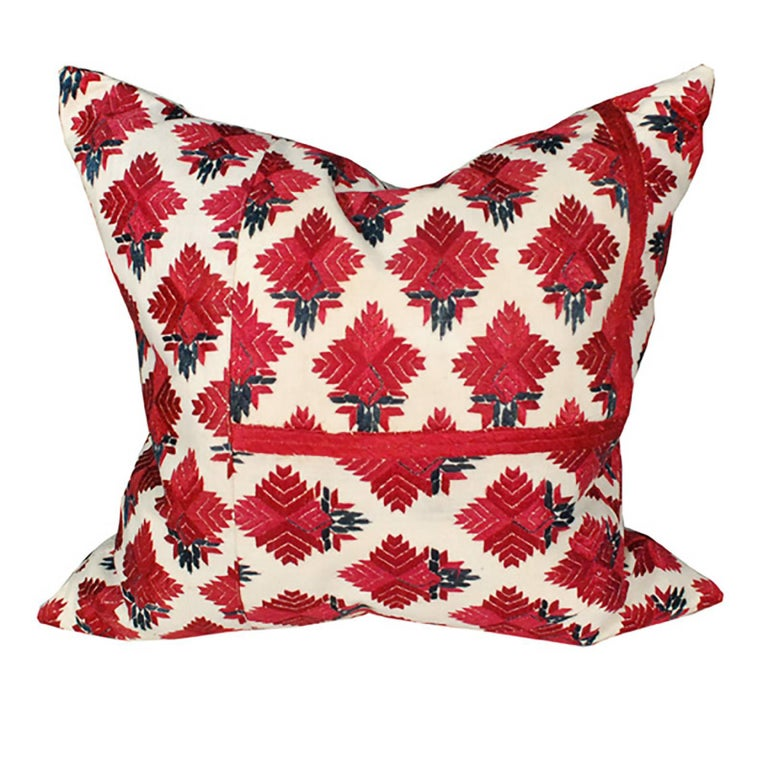 Throw Pillow with Vintage Indian Embroidery For Sale