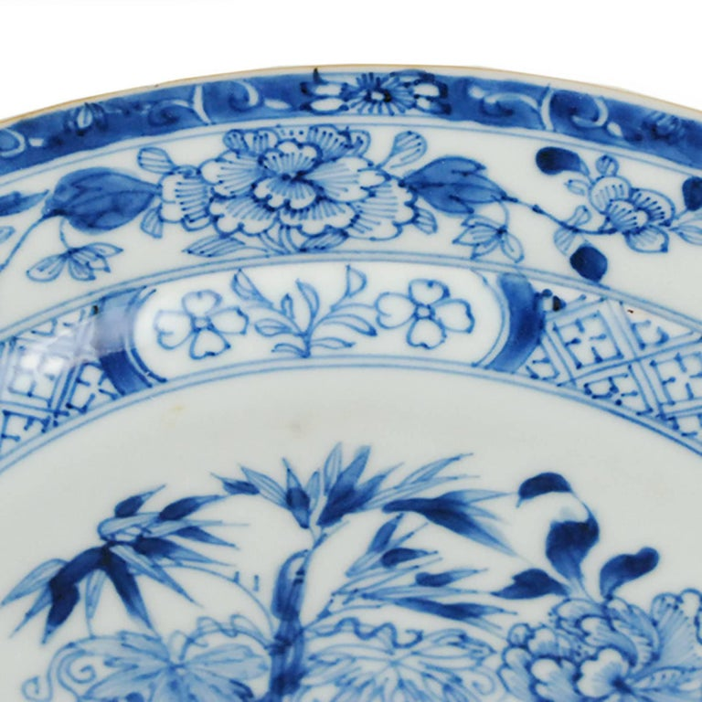 Qing Chinese Blue and White Plate with Floral Motif For Sale