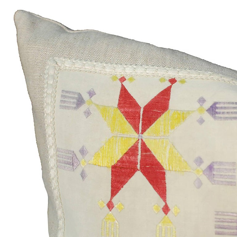Embroidered Throw Pillow with Vintage Central Asian Embroidery For Sale
