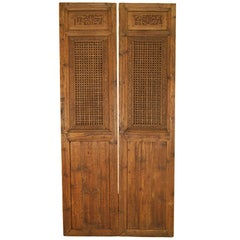 Pair of Chinese Lattice Paneled Doors