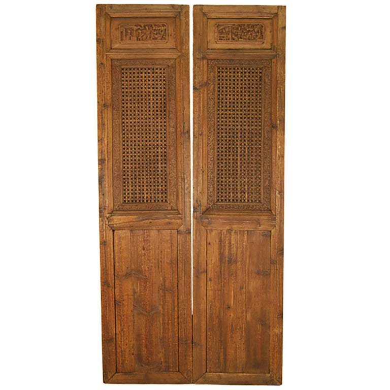 Pair of Chinese Lattice Paneled Doors For Sale
