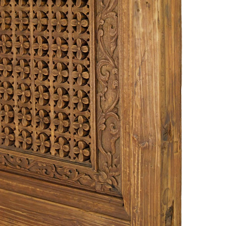 Hand-Carved Pair of Chinese Lattice Paneled Doors For Sale