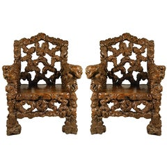Pair of Chinese Rootwood Chairs