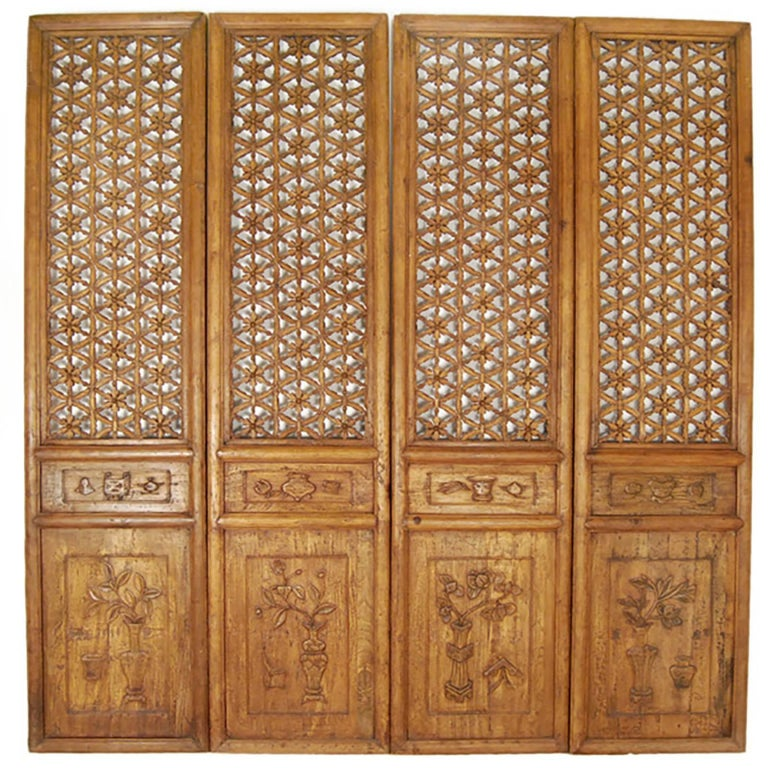 Set of Four Chinese Floral Lattice Courtyard Panels