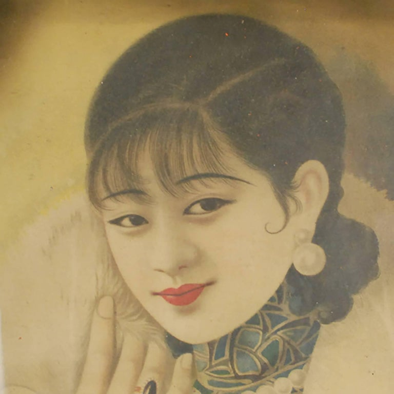 Influenced by Western advertising, commercial posters featuring beautiful women in modern settings gained popularity in China in the 1920s and 1930s. Commercial companies presented posters, like this one, to their clients for Chinese New Year. This
