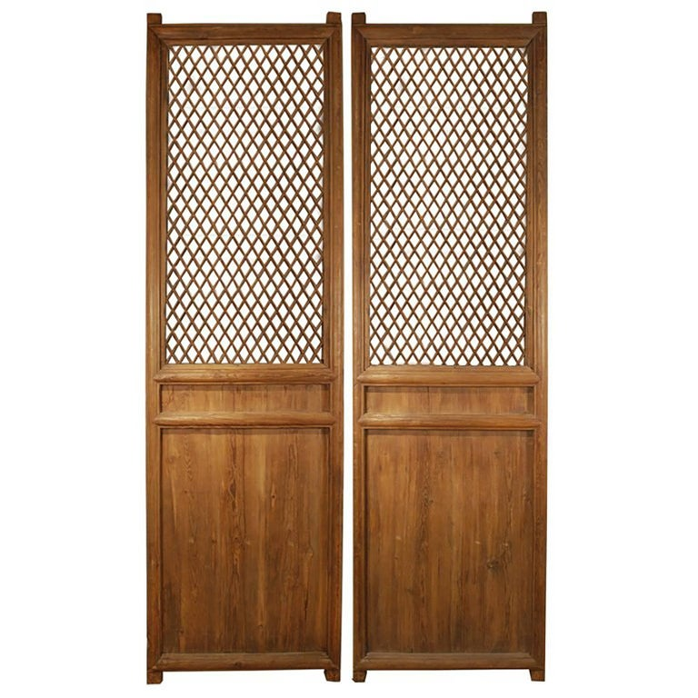 Pair of Chinese Courtyard Lattice Panels