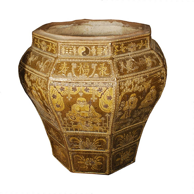 Chinese Grande Glazed Urn