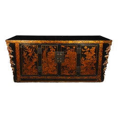 Chinese Gilt Lacquered Avian Coffer