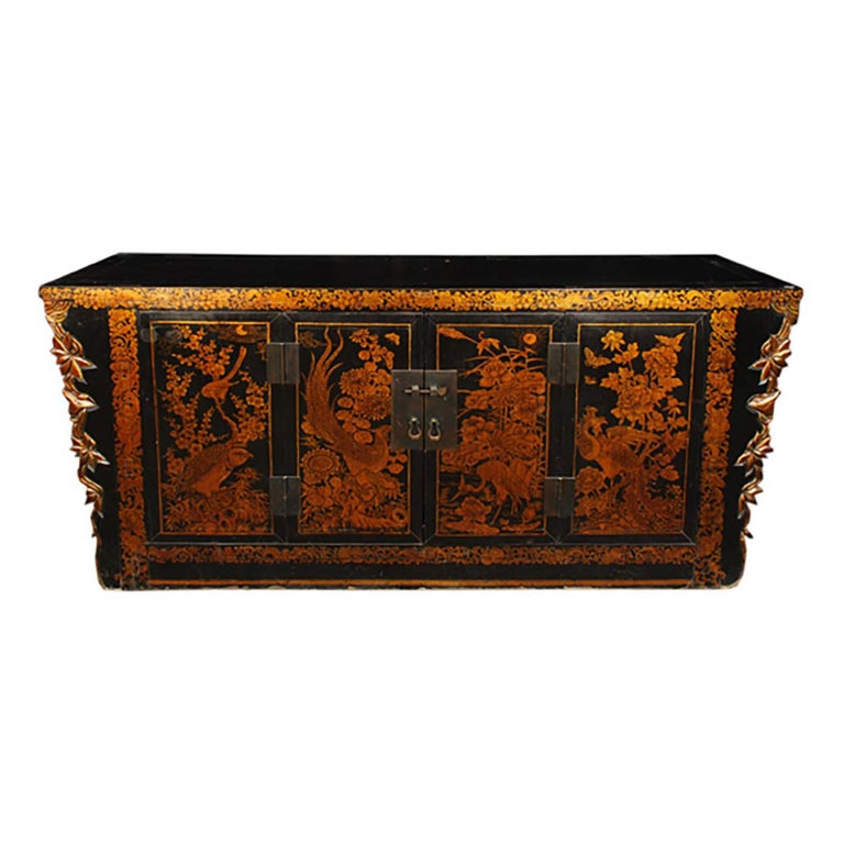 Chinese Gilt Lacquered Avian Coffer For Sale