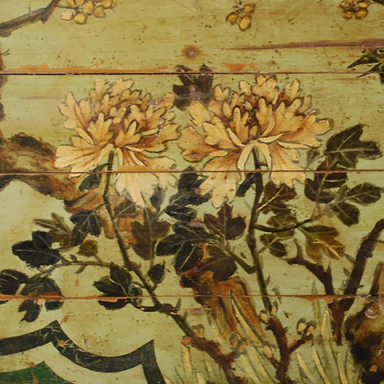 Chinese Painted Bed Canopy with Birds and Tree Peonies 3