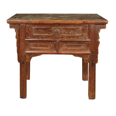 Chinese Provincial Lacquer Table with Drawer