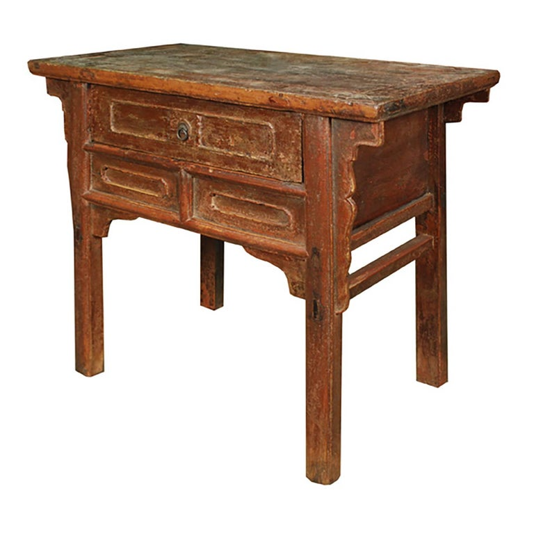 Qing Chinese Provincial Lacquer Table with Drawer For Sale